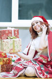 Christmas and New Year Celebrations and Concepts. Happy and Laug Stock Photos
