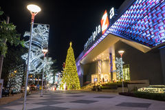 Christmas and new year celebrations. Lampang, Thailand - 31 December 2014: Central Plaza the most famous shopping mall in Lampang decorate the building for Royalty Free Stock Photo