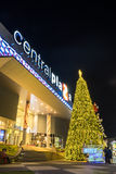 Christmas and new year celebrations. Lampang, Thailand - 31 December 2014: Central Plaza the most famous shopping mall in Lampang decorate the building for Royalty Free Stock Photography