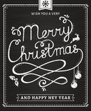 Christmas and New Year chalkboard lettering card. Stock Photos