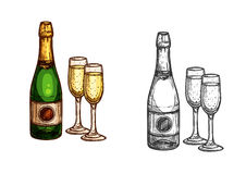 Christmas, New Year champagne bottle, glass sketch. New Year celebration champagne bottle with glasses. Vector color sketch isolated icons. Christmas holidays Stock Image