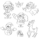 Christmas and new year characters. Santa Claus, snowman, elf, Christmas angel, reindeer, gifts and bells. Black and white illustration for coloring book vector illustration