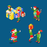 Christmas New Year children candy gift flat isometric vector 3d Stock Photos