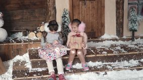 Christmas or New Year. children exchange gifts for Christmas. two little girls on the background of the New Year`s. Christmas or New Year. a little girl hanging stock video