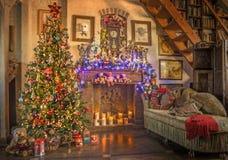 Christmas. New Year. Christmas Tree. Fireplace. 001. Christmas, New Year, Christmas Tree, Fireplace and Toys Stock Image