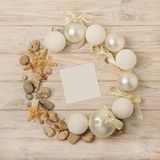 Christmas and New Year. Christmas wreath of Christmas-tree white royalty free stock photos