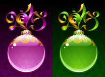 Christmas and New Year 2015 circle frame. Christmas and New Year circle frame. Vector ribbon in the shape of 2015 and glass ball. Purple and green Stock Photos