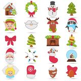 Christmas and New Year color icons set. Christmas and New Year color icons Stock Photography