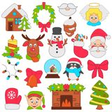 Christmas and New Year color icons set. Christmas and New Year color icons Stock Photo