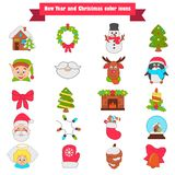 Christmas and New Year color icons set. Christmas and New Year color icons Stock Photos