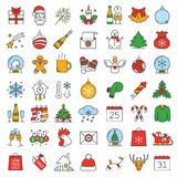 Christmas and New Year color icons set. Candy canes, champagne bottle and glasses, Santa Claus letter, rooster, snowflake, sparkler. Isolated vector Stock Image