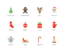 Christmas and New Year color icons on white Royalty Free Stock Photos