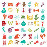 Christmas, New Year colored icons silhouette set Stock Photo