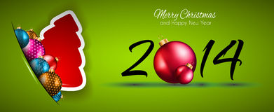 2014 Christmas and New Year Colorful Background. With a waterfall of ray lights and a lot of baubles and stars Royalty Free Stock Photography