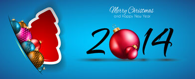 2014 Christmas and New Year Colorful Background. With a waterfall of ray lights and a lot of baubles and stars Royalty Free Stock Photos