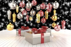 Christmas New Year colorful gift boxes with bows of ribbons and christmas tree gifts on the white background. 3d illustration Stock Photos