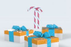 Christmas New Year colorful gift boxes with bows of ribbons and stripped candy cane on the white background. 3d illustration with. Space for your text Stock Photos