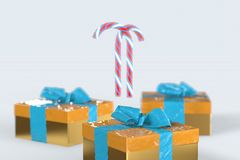 Christmas New Year colorful gift boxes with bows of ribbons and stripped candy cane on the white background. 3d illustration with. Space for your text Stock Images