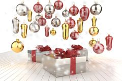 Christmas New Year colorful gift boxes with bows of ribbons and christmas tree gifts on the white background. 3d illustration Royalty Free Stock Photography