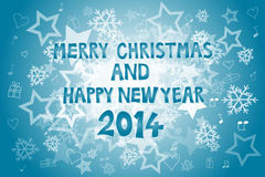 Christmas and New Year 2014. Colorful Merry Christmas and Happy New Year 2014 Stock Photos
