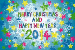 Christmas and New Year 2014. Colorful Merry Christmas and Happy New Year 2014 Stock Image