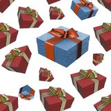 Christmas New Year colorful red and blue gift boxes with bows of ribbons flying on white background. seamless pattern. 3d illustra. Christmas New Year colorful Stock Photography