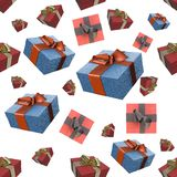 Christmas New Year colorful red and blue gift boxes with bows of ribbons flying on white background. seamless pattern. 3d illustra. Christmas New Year colorful Royalty Free Stock Images