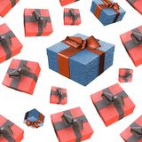 Christmas New Year colorful red and blue gift boxes with bows of ribbons flying on white background. seamless pattern. 3d illustra. Christmas New Year colorful Royalty Free Stock Image