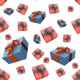 Christmas New Year colorful red and blue gift boxes with bows of ribbons flying on white background. seamless pattern. 3d illustra. Christmas New Year colorful Royalty Free Stock Photography