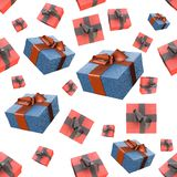 Christmas New Year colorful red and blue gift boxes with bows of ribbons flying on white background. seamless pattern. 3d illustra. Christmas New Year colorful Stock Images