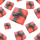 Christmas New Year colorful red gift boxes with bows of ribbons flying on white background. seamless pattern. 3d illustration.  Royalty Free Stock Photo