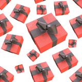 Christmas New Year colorful red gift boxes with bows of ribbons flying on white background. seamless pattern. 3d illustration.  Royalty Free Stock Photography