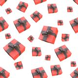 Christmas New Year colorful red gift boxes with bows of ribbons flying on white background. seamless pattern. 3d illustration.  Royalty Free Stock Images