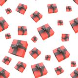 Christmas New Year colorful red gift boxes with bows of ribbons flying on white background. seamless pattern. 3d illustration.  Stock Photo