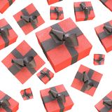 Christmas New Year colorful red gift boxes with bows of ribbons flying on white background. seamless pattern. 3d illustration.  Stock Photos