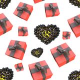 Christmas New Year colorful red gift boxes and hearts with bows of ribbons flying on white background. seamless pattern. 3d illust. Ration Royalty Free Stock Photos