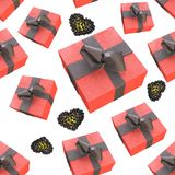 Christmas New Year colorful red gift boxes and hearts with bows of ribbons flying on white background. seamless pattern. 3d illust. Ration Stock Photos