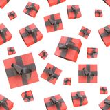 Christmas New Year colorful red gift boxes and hearts with bows of ribbons flying on white background. seamless pattern. 3d illust. Ration Royalty Free Stock Image
