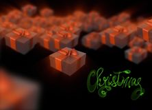 Christmas New Year colorful red and green gift boxes with bows of ribbons flying on black background. 3d illustration and letterin Stock Photography
