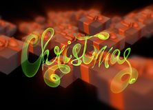 Christmas New Year colorful red and green gift boxes with bows of ribbons flying on black background. 3d illustration and letterin Royalty Free Stock Photo