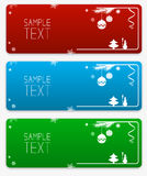 Christmas and New Year colorful vector banners collection with Christmas baubles and snowflakes and sample text block.  Royalty Free Stock Photo