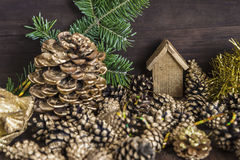 Christmas and New year composition. With Astrologer and beautiful golden decorations on a wooden background stock images