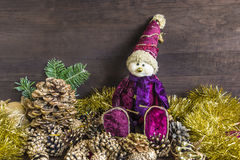 Christmas and New year composition. With Astrologer and beautiful golden decorations on a wooden background royalty free stock photo