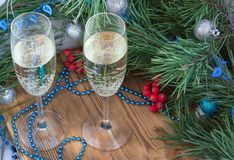Christmas and New Year composition, champaign glasses, pine, ornament decoration. Christmas and New Year still life composition with two champaign glasses, pine royalty free stock photos