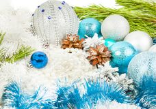 Christmas and New Year composition with fir tree branch, beautif Stock Images
