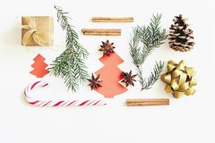 Christmas and New Year composition. Gift box with ribbon, fir branches, cones, star anise, cinnamon, candy cane and paper christma stock photo