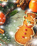 Christmas, New Year Composition with Gingerbread Man, Tangerines, Fir Tree, Cinnamon and Candy Canes. Shiny Holiday Stock Images