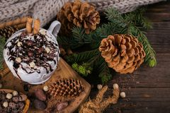 Christmas or New Year composition with hot chocolate or cocoa dr Royalty Free Stock Images