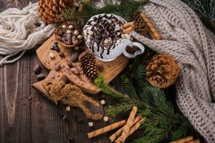 Christmas or New Year composition with hot chocolate or cocoa dr Royalty Free Stock Photos