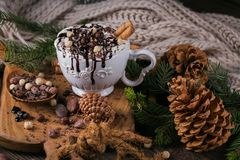 Christmas or New Year composition with hot chocolate or cocoa dr Royalty Free Stock Photography
